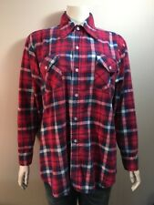 Vintage Champion Plaid Shirt SZ 16 1/2 Made In China Red Blue Mens Button Front
