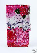 LG H502 magna Case Flip Etui Tasche Hülle Rosen Ringe pink Strass