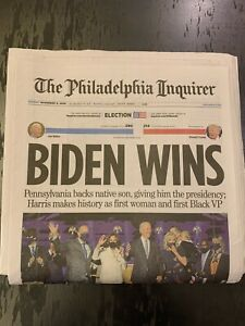 JOE BIDEN WINS - Trump Philadelphia Inquirer Sunday Newspaper 11/8/20 Penn NEW