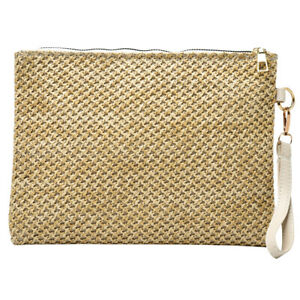 Vintage Women Straw Woven Day Clutches Envelope Bag Beach Vacation Purse
