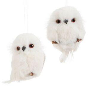 "Set 2 White Faux Fur Feathered 4"" Owls Ornaments Raz Christmas Decor Snowy"