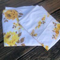 Vtg Floral Twin Flat Sheet Pillowcase Set 60s 70s Yellow Orange Brown Bedding