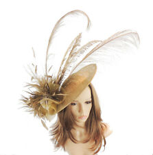 Gold Large Fascinator Ascot Kentucky Derby Proms A6