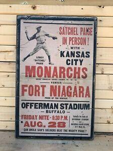 Antique Rustic Style Negro League Satchel Page Monarchs 12x16 Poster Wood Sign