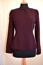 Ladies Jigsaw Tailored Wool Blend Fully Lined Jacket Dark bordeaux   size 10 VGC