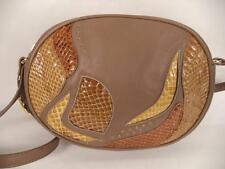JANE SHILTON BROWN LEATHER AND SNAKESKIN SHOULDER BAG HANDBAG