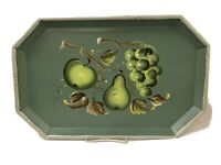 "Vintage Nashco Products New York Metal Tray Hand Painted Fruit 16.5"" X 10.5"""