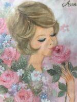 Vintage Anniversary Card Sugared Glitter Woman Head MCM Blue Eyeshadow Pink Wife