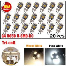 20 X Warm White G4 5 SMD LED 5050 DC 12V RV Marine Boat Camper Light Bulb Lamps