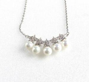 Women Choker Necklace Shell Pearl White Gold Plated Length 43+3 cm Adjustable UK