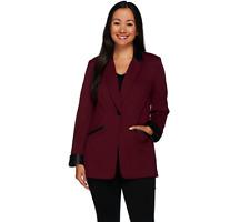 Susan Graver Ponte Jacket with Faux Leather Trim Petite BLACK Size Petite 10