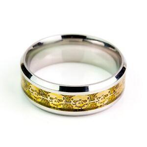 Gold Skulls On Gold Carbon Fiber Stainless Steel Ring Men Unisex