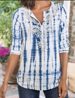 Soft Surroundings Womens Size M Medium Marais Tencel Blue White Tie Die Top Bead