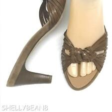 "SALVATORE FERRAGAMO Brown KNOTTED Leather Slides 3"" HEELS Sandals Shoes 8 NEW!"