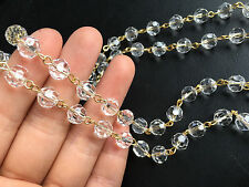 30FT CLEAR GLASS BEAD 8MM CRYSTAL CHANDELIER PART WEDDING GARLAND GOLDEN CHAIN