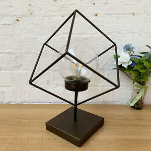 Industrial Wire Metal Glass Square Geometric Bedroom Side Table Desk Light Lamp