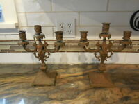 2 Vintage Rococo Ornate Brass Candelabras - HEAVY - FREE SHIPPING