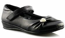 Infant Girls New Touch Fastening Back To School Bar Formal Black Shoes Size 8-2