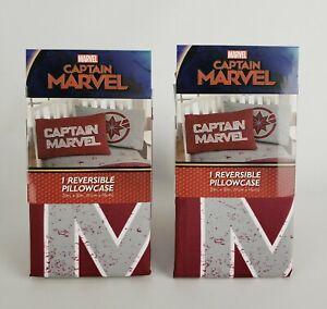 """(Lot of 2) Marvel Captain Marvel Reversible Pillowcase 20"""" x 30"""" Red / Gray"""