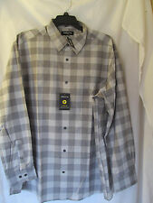 NWT Men's Claiborne Black,Gray Checkered Long Sleeve Casual Shirt Size 2XLT