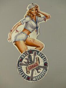 Shabby Blechschild Auto Repair Garage Pin Up Girl Retro Stil 60 x 33cm  NEU