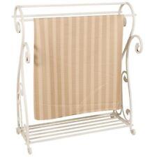 Quilt Display Rack White Scroll Metal Blanket Stand Bedspread Bedding Storage