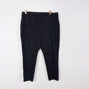 Chicos Size 3 XLarge XL 16 Damask Flocked Velvet Ponte Knit Pants Gray Black