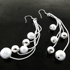 EARRINGS GENUINE REAL 925 STERLING SILVER S/F LADIES HOOK LONG DROP BEAD DESIGN