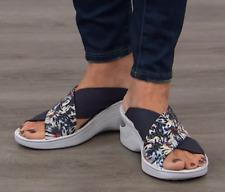 Bzees Diamond X-Band Wedge Slide Sandal, Blue  Floral 6 W