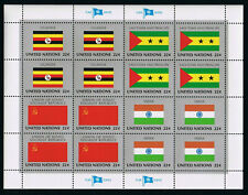 United Nations Stamps — Flag Series: UGANDA, USSR, SAO TOME & INDIA — MNH