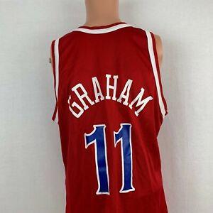 Champion Greg Graham Philadelphia 76ers Replica Jersey Vtg 90s NBA Red Size 44