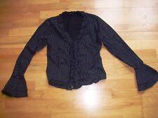 Ladies black pinstriped ruffle shirt by VERO MODA size 10 vgc