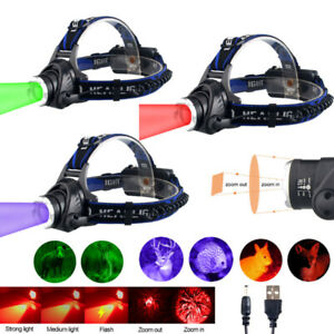 USB Head Torch Rechargeable Red /Green/Purple  LED Light Headlamp Zoom Headlight