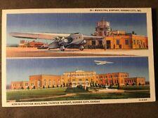 Kansas City MO Municipal Airport linen multiview postcard Fairfax Airport plane
