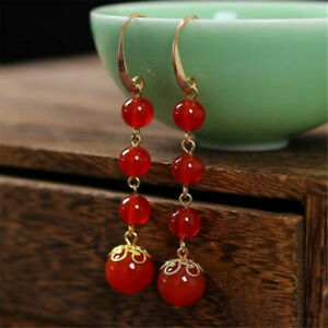 Natural Red agate Earrings Dangle 18KGP Chain Ms gift Beautiful FOOL'S DAY