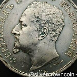 SCC Bulgaria 5 Leva 1892 КБ. KM#15. Silver Crown Dollar coin. Ferdinand I Prince