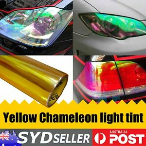 Yellow Chameleon Headlight Tint Film Car  SUV Side Rear Lamp Decals 30cm x 120cm