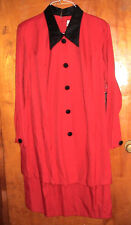 PERCEPTIONS RED DRESS WITH BLACK VELVET COLLAR & BUTTONS-SIZE 18-PRE OWNED
