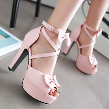 Women's Platform Sandals Strappy Bow Chunky High Heel Open Toe Pumps Shoes US 6