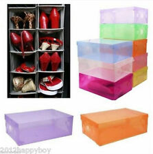 Foldable Clear Plastic Home Shoe Boot Box Stackable Foldable Storage Organizer