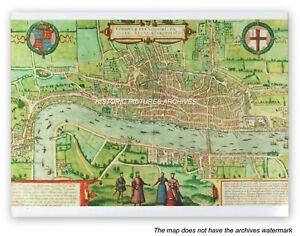 HISTORIC HARDBACK MAP - PLAN  VIEW OF LONDON 1574 A.D. ARTIST GEORG BRAUN 1572