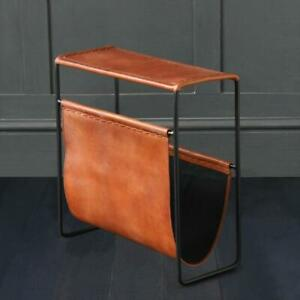 Belvadere Magazine Rack Side Table Tan Leather And Black Metal Home Accessories