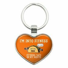 Fitness Taco In My Mouth Funny Keychain Heart Metal Keychain