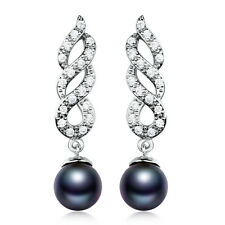 Elegant Ladies 18K White Gold Filled Black Pearl Sapphire Dangle Earrings Spiral