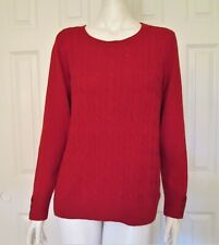 Talbots Woman Petites Size 1X Red Wool Blend Pullover Cable Knit Sweater