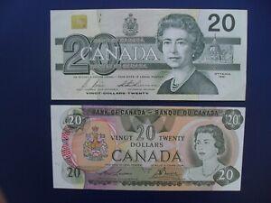 2No. 1979 & 1991 CANADA $20 BANKNOTES ORIGINAL GVF