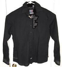 English Laundry Men's XL Black LS Embroidered Back Velvet Cuffs Hand Sewn Shirt