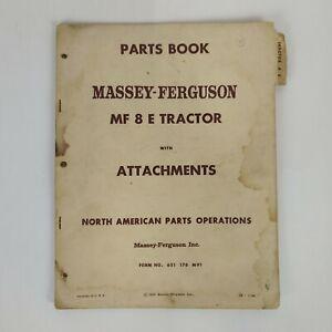 Massey-Ferguson Parts List Book MF8E Tractor w/Attachments 651-176-M91 1964 OEM