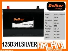 DELKOR BATTERY - PREMIUM SILVER 125D31L CCA 760 A 95 AH SAE RHP MAINTENANCE FREE