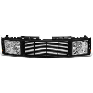 Fit 94-00 Chevy GMC C/K 1500 2500 3500 Headlights + Front Bumper Grille Grill